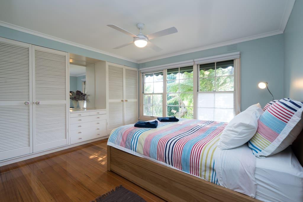 Master bedroom-plenty of space and storage.
