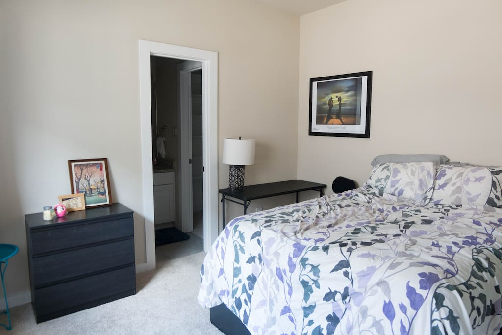 The bedroom is furnished with dresser, nightstand, desk, office chair, and additional storage is available in the drawers beneath the bed. The closet has additional shelf space, in addition to two racks for hangers (which are included in the closet).