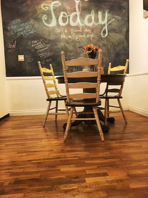 Find a personalized message on our chalkboard wall and leave one of your own!