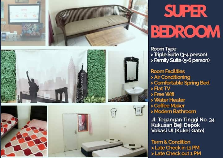 SUPERoom E for 3 guest with AC,TV,Sofa,FreeWifi