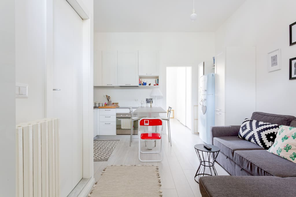 The living room & the equipped kitchen