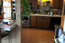 Kitchen area with seated countertop bar area