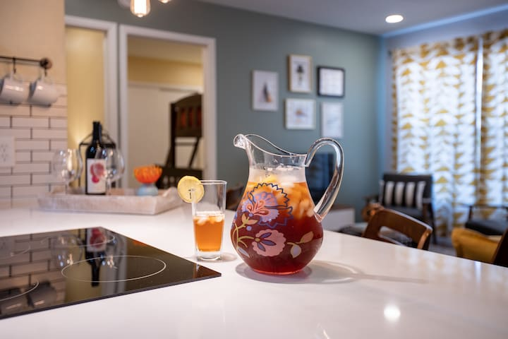 Enjoy a glass of wine  (or two) or sip some iced tea to wind down from a busy day