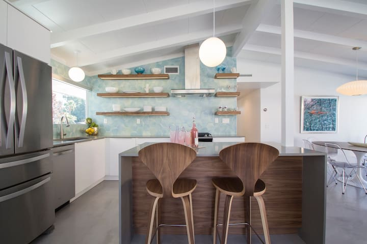 Kitchen with bar seating.