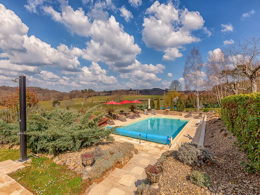 Beautiful heated salt water swimming pool with a magnificent view of the valley