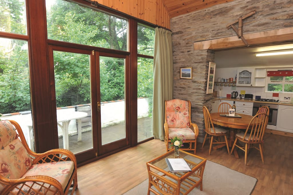 Open Plan Living with Patio overlooking stream for fishing