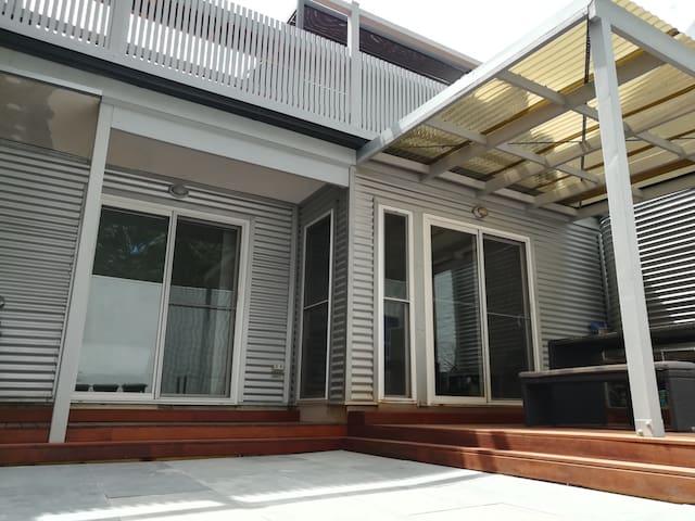 Downstairs courtyard