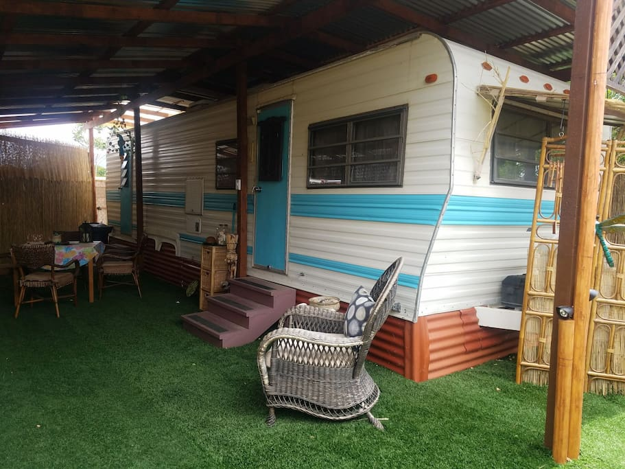 RV Life! Enjoy morning coffee or late night wine in your private patio.