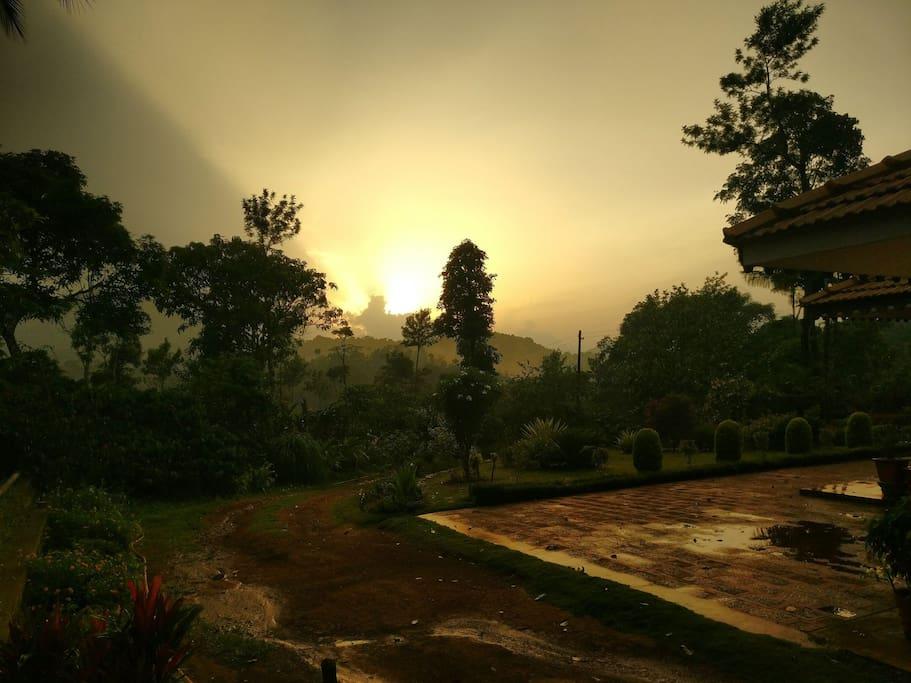 Sunset after a summer shower