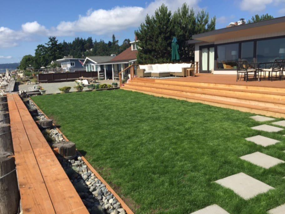 New lawn and deck beachside