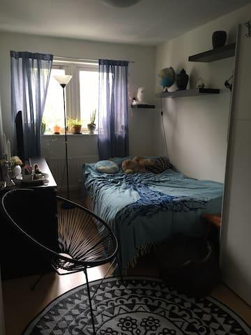 Rum med 120 säng och egen tv. Delat kök och badrum
