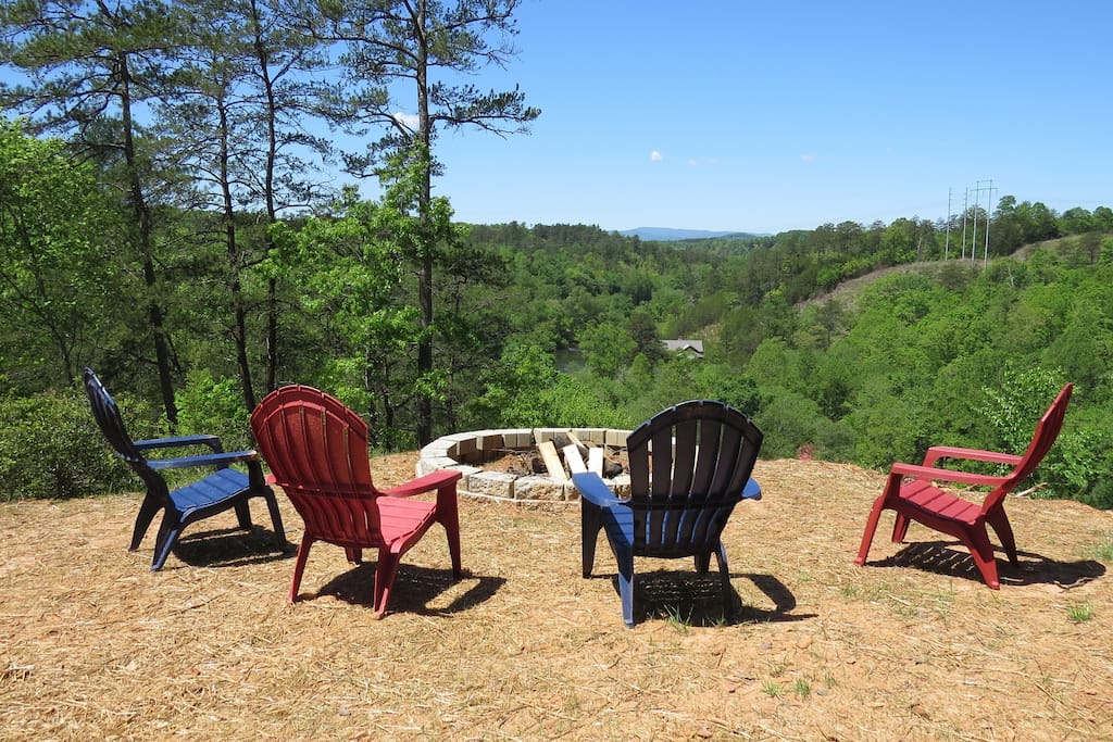 Enjoy a campfire overlooking the Toccoa River Valley.