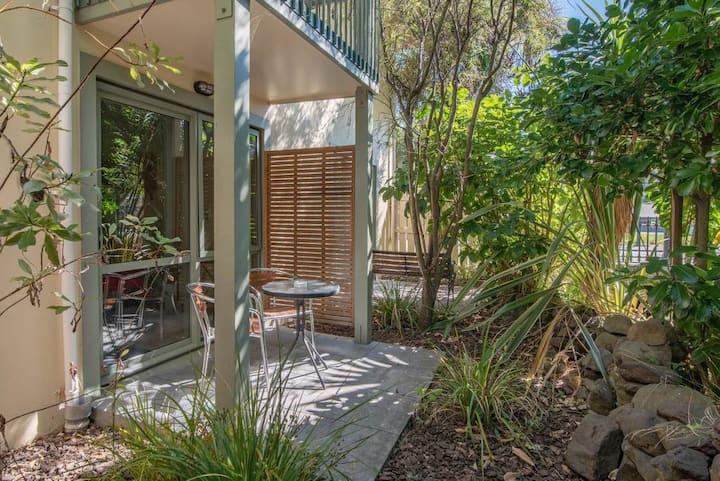 Studio with native garden views