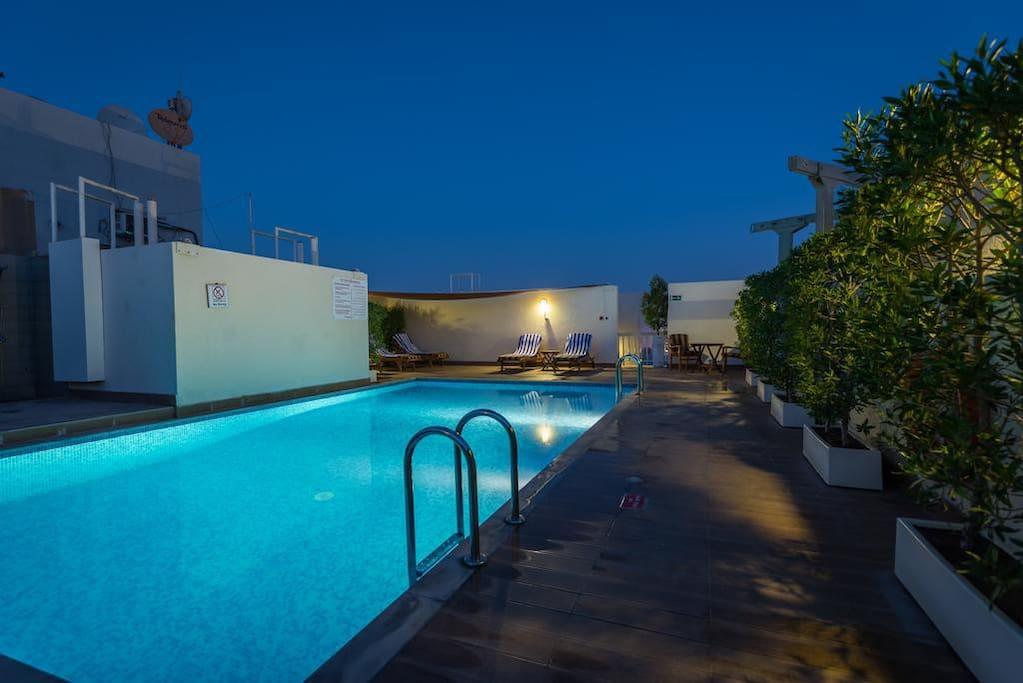 Pool in night time