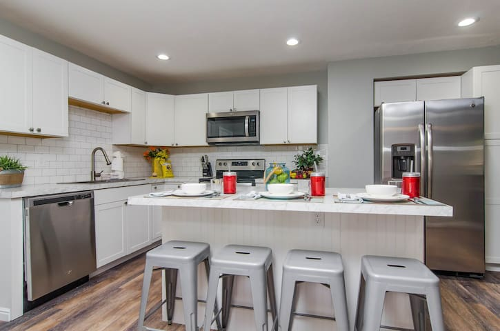 Newly remolded kitchen with stainless steel appliances