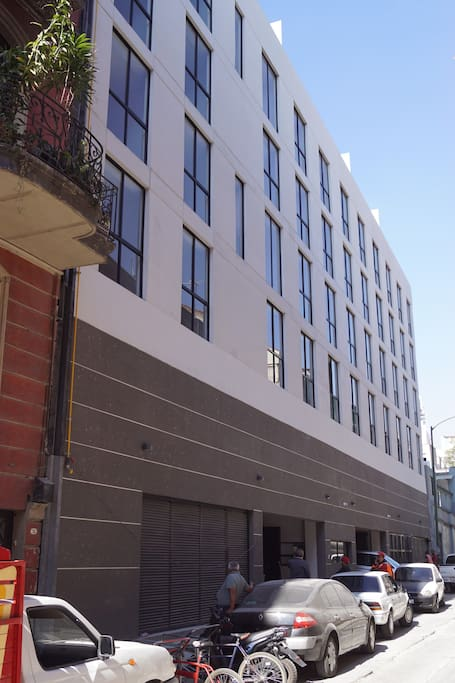 Back facade & parking entrance