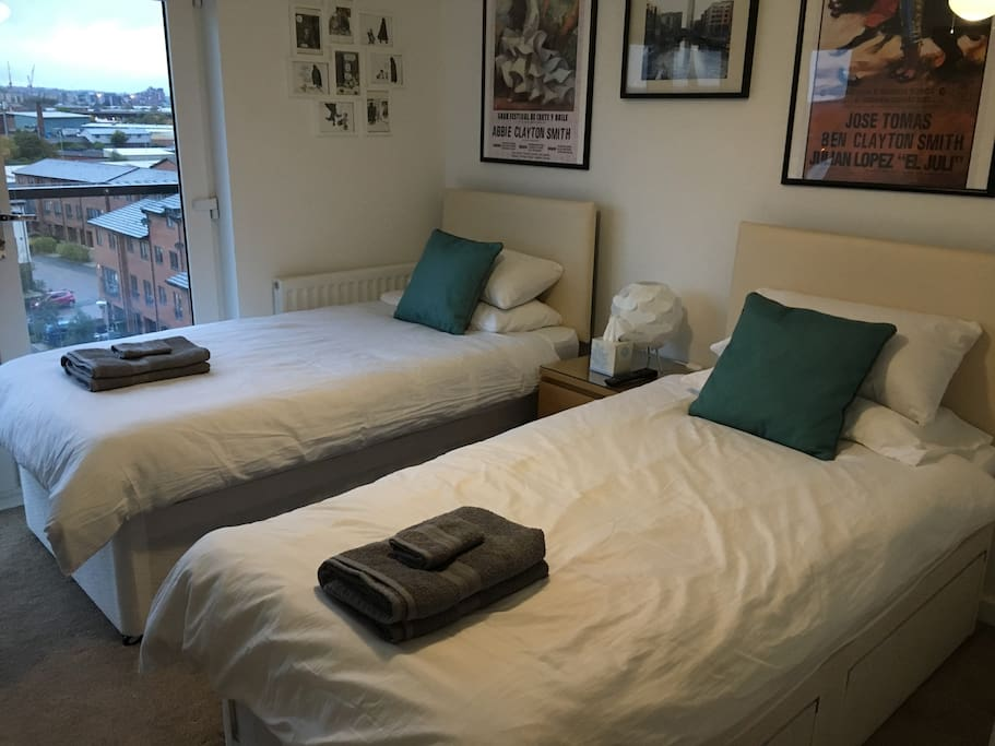 Twin beds for friend/family sharing a room.