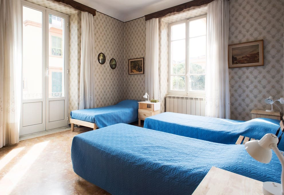 Room 2 - Can be configured as 3 single beds or 1 double bed and 1 single bed. This room has a terrace.