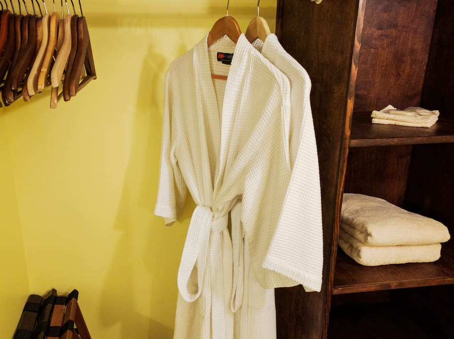 robes, towels, toiletries, hairdryer etc., along with an ample closet