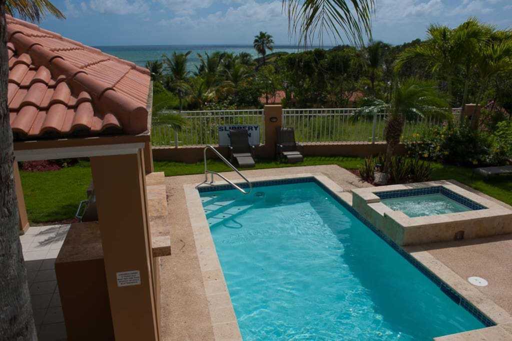 Pool, Jacuzzi and Caribbean Views