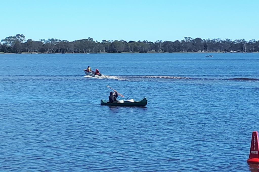 Trout, yabbies, redfin, skiing, kayaking, 5.5km walking track.