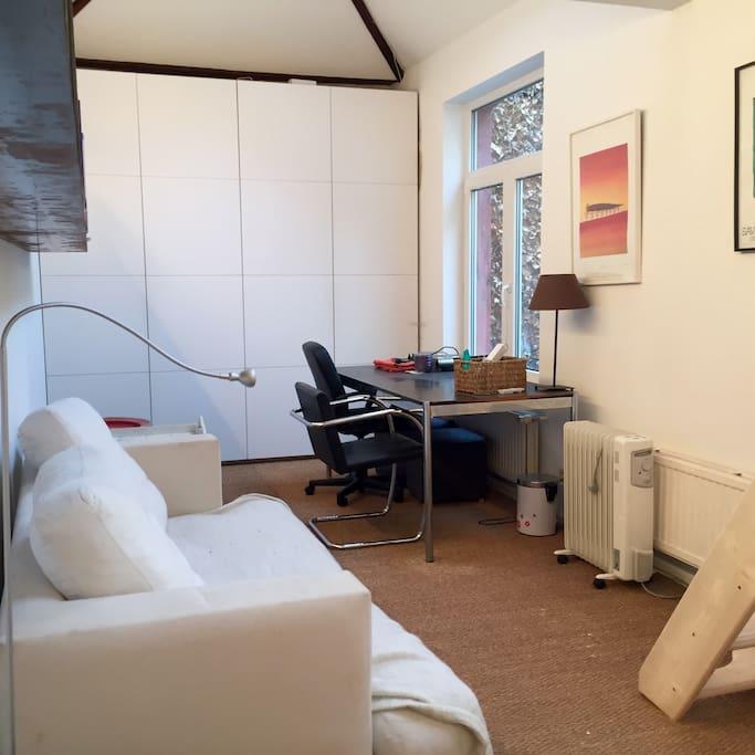 Sofa - Desk and Closed (wardrobe and Cupboard)