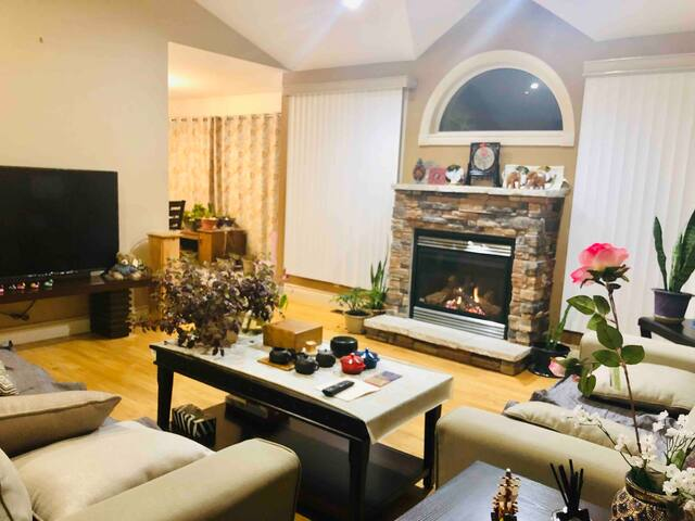 Exquisite fireplace makes the living room warmer and comfortable
