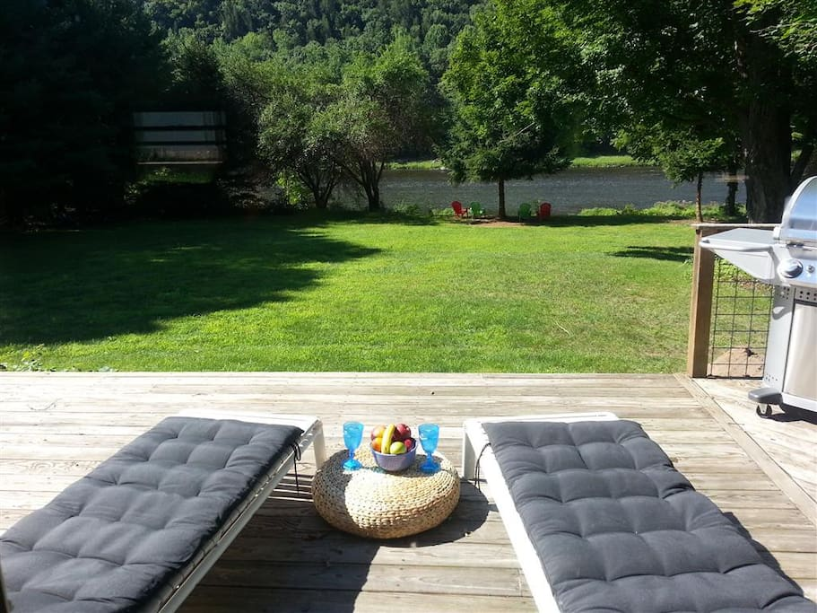 Lounge on the deck and watch the river, wildlife and eagles soar