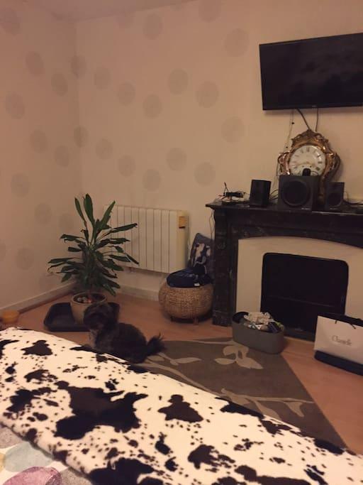 Grande chambre tout confort 1er étage +TV