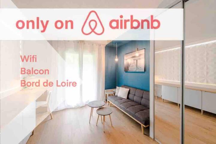 *studio*bord de Loire*balcon*