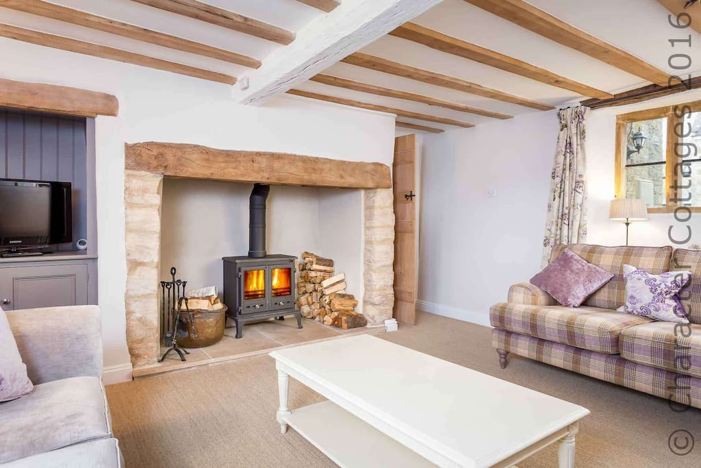 Beautiful living room with log burner