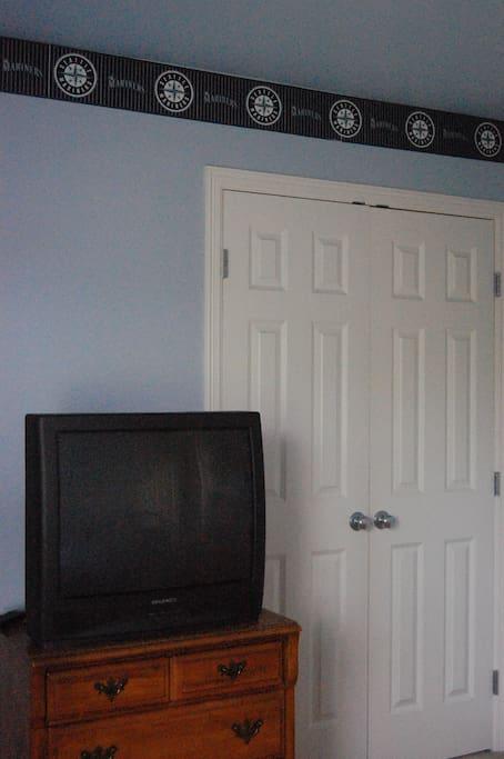 Dresser, closet, TV