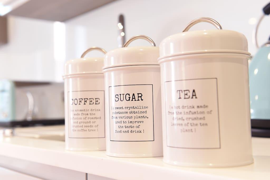 Full of handy essentials, such as tea, coffee & sugar