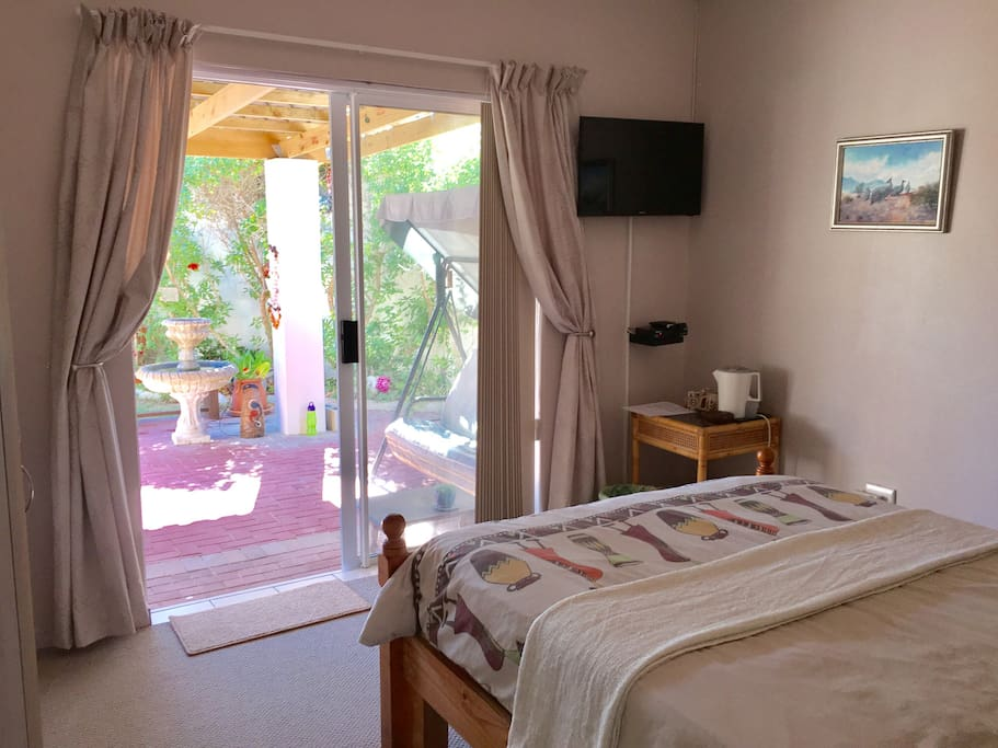 The room has it's own private entrance which also leads out onto the garden and outdoor space. It also has a satellite TV and tea/coffee making facilities.
