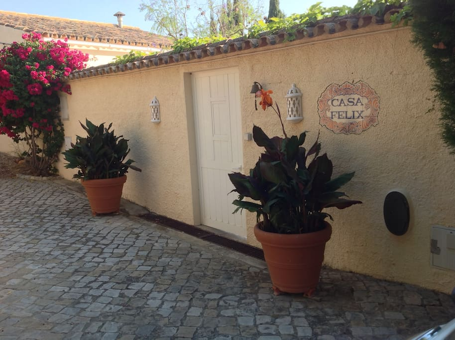You are greeted by the entrance when you arrive at Casa Felix