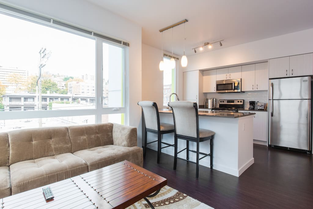 Open kitchen for convenient cooking/socializing.