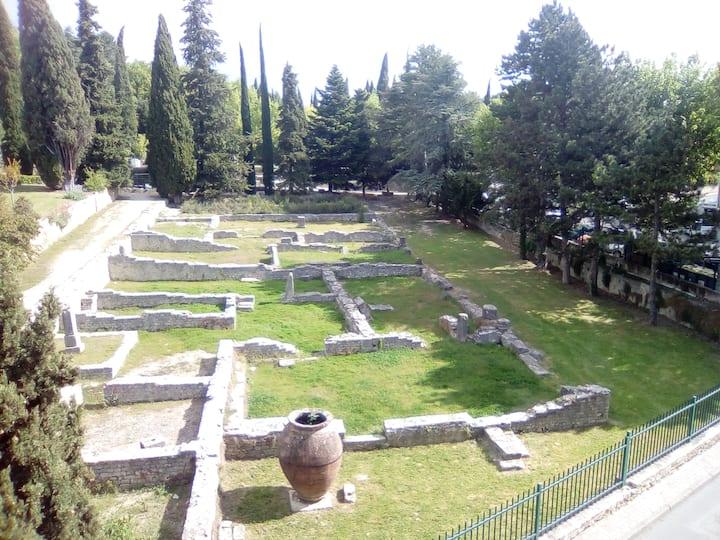 Grande terrasse et vue sur le site antique
