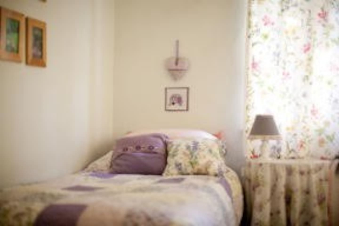 Cosy, creative and comfy vintage style bedroom with two beds. One of two rooms available.