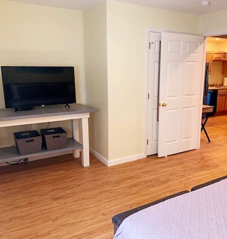 Bedroom includes large closet, TV/WiFi/Roku enabled. Air Conditioner with remote.