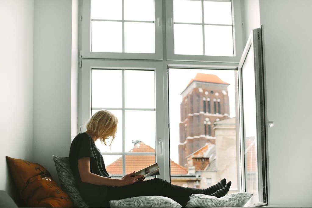 Widok na Kościół Mariacki z okna