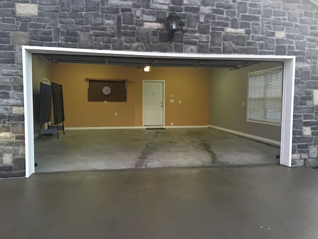 Two car garage for guests.