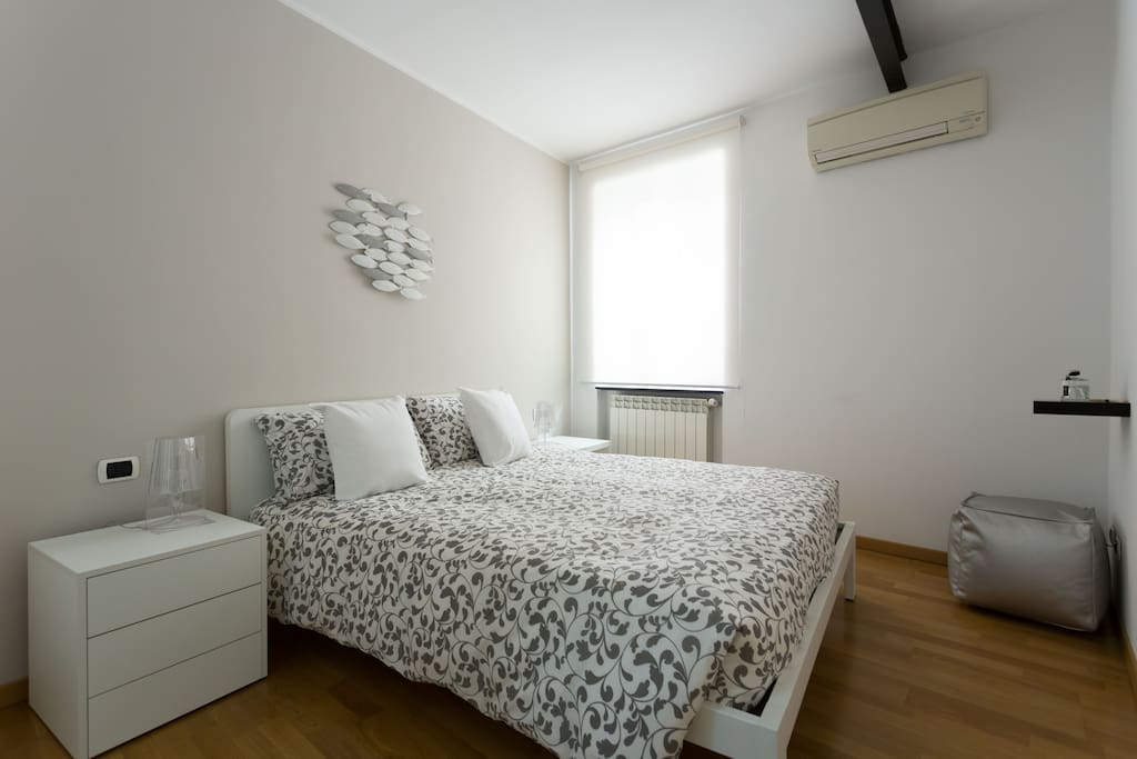 The Bedroom: the comfortable double bed & the window