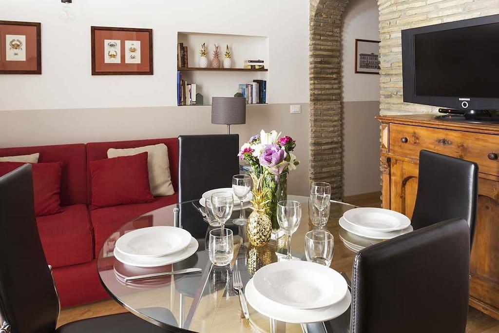 Modern two bedrooms apartment in Campo de Fiori and near Via Giulia - Living room