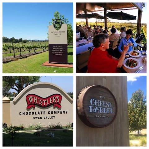 Swan Valley ( free wine, chocolate & cheese tasting & beautiful sceneries - 30 min drive)