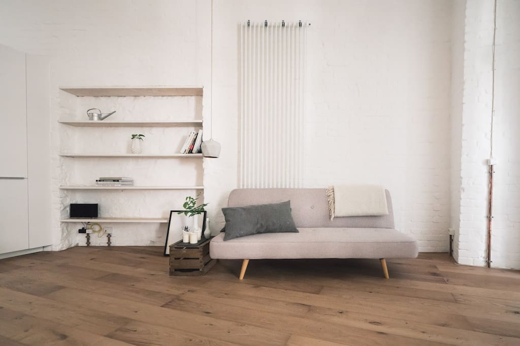 living area with durable oak floor