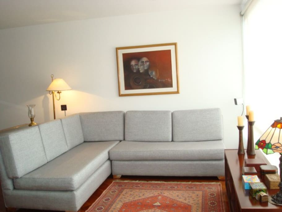 The apartment is finely furnished and composed of a bright and open living/dining space