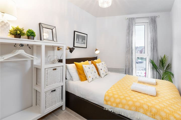 The second bedroom offers another double bed and again plenty of storage space.