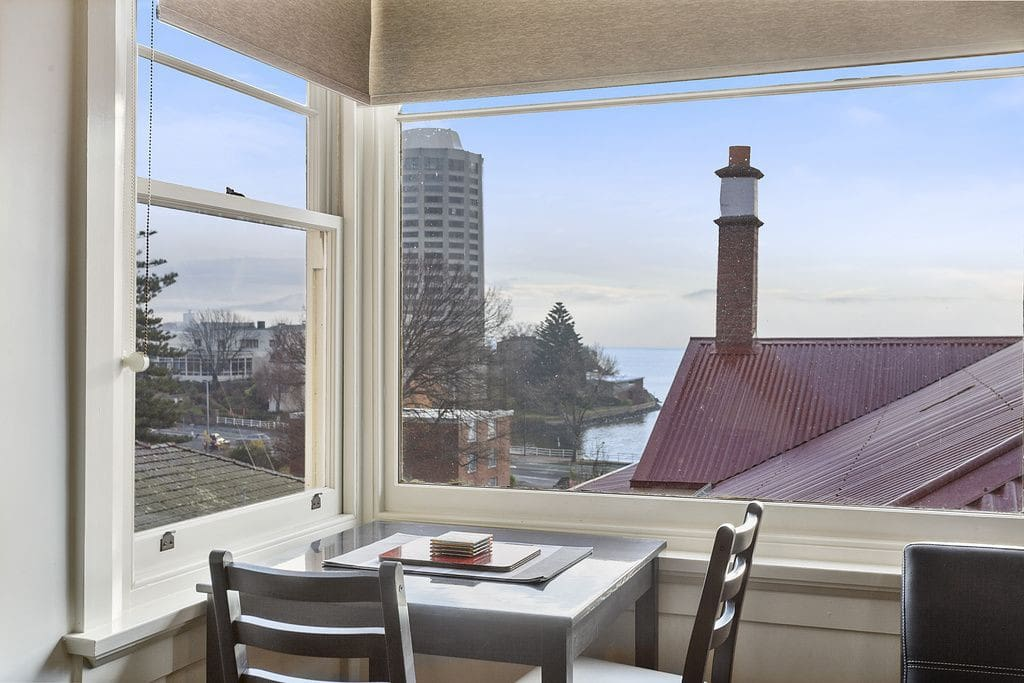 Living room view of Wrest Point Casino and the Derwent River...