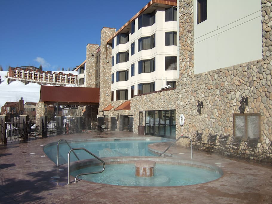 pool is heated and goes right inside the hotel - swim out and in
