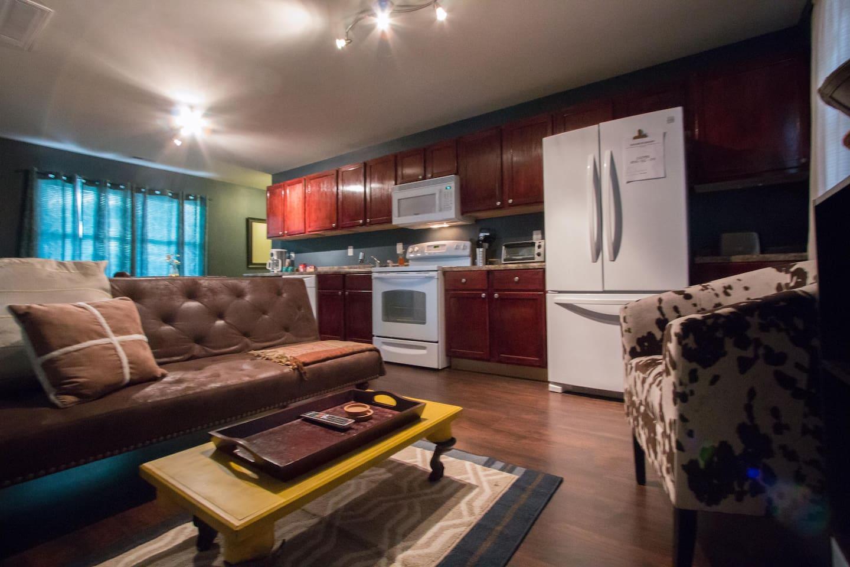 Modern Futon in Living Room--linens also provided